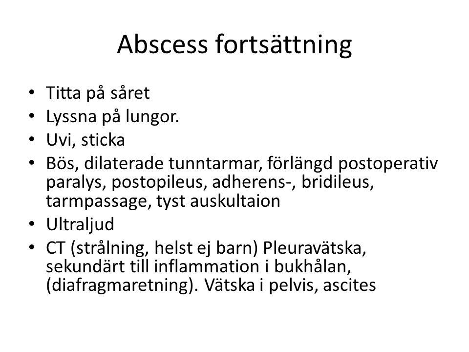 Abscess fortsättning Titta på såret Lyssna på lungor. Uvi, sticka Bös, dilaterade tunntarmar, förlängd postoperativ paralys, postopileus, adherens-, b