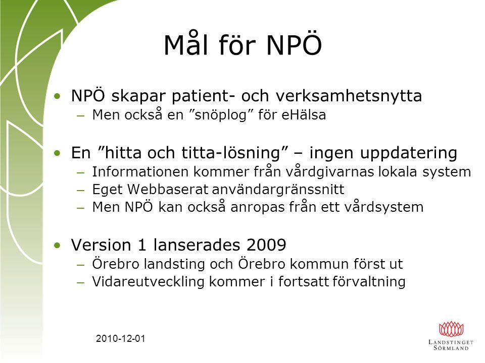 2010-12-01 NPÖ och lagen Nya Patientdatalagen 1/7 2008 – En avgörande förutsättning för elektroniskt informationsutbyte över vårdgivargränser Datainspektionens tillsyn av NPÖ hösten 2009