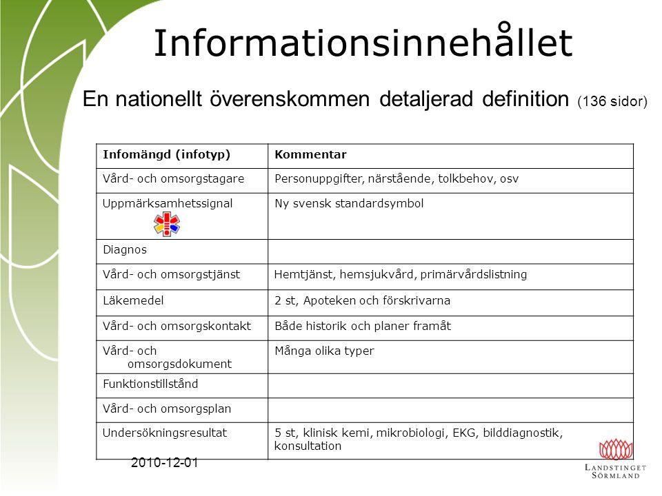 2010-12-01 Informationsinnehållet Infomängd (infotyp)Kommentar Vård- och omsorgstagarePersonuppgifter, närstående, tolkbehov, osv Uppmärksamhetssignal