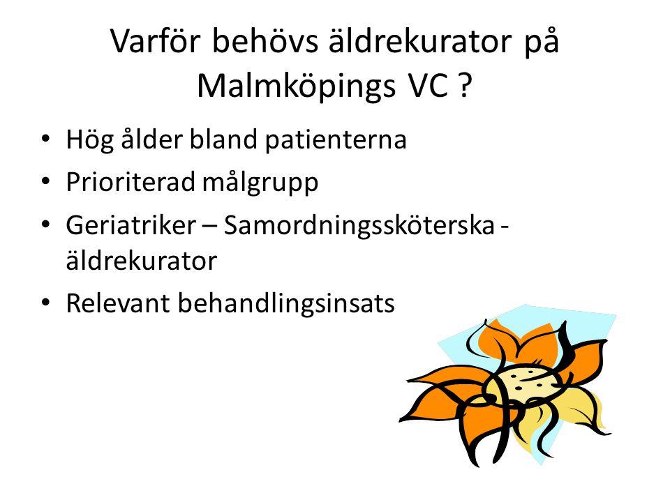 Varför behövs äldrekurator på Malmköpings VC ? Hög ålder bland patienterna Prioriterad målgrupp Geriatriker – Samordningssköterska - äldrekurator Rele