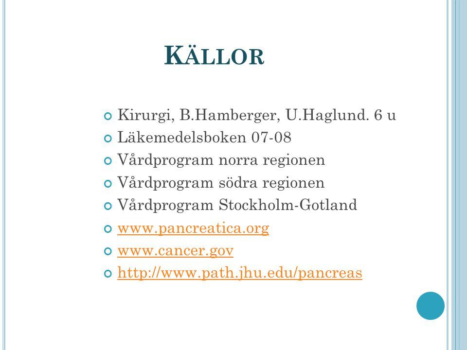 K ÄLLOR Kirurgi, B.Hamberger, U.Haglund. 6 u Läkemedelsboken 07-08 Vårdprogram norra regionen Vårdprogram södra regionen Vårdprogram Stockholm-Gotland