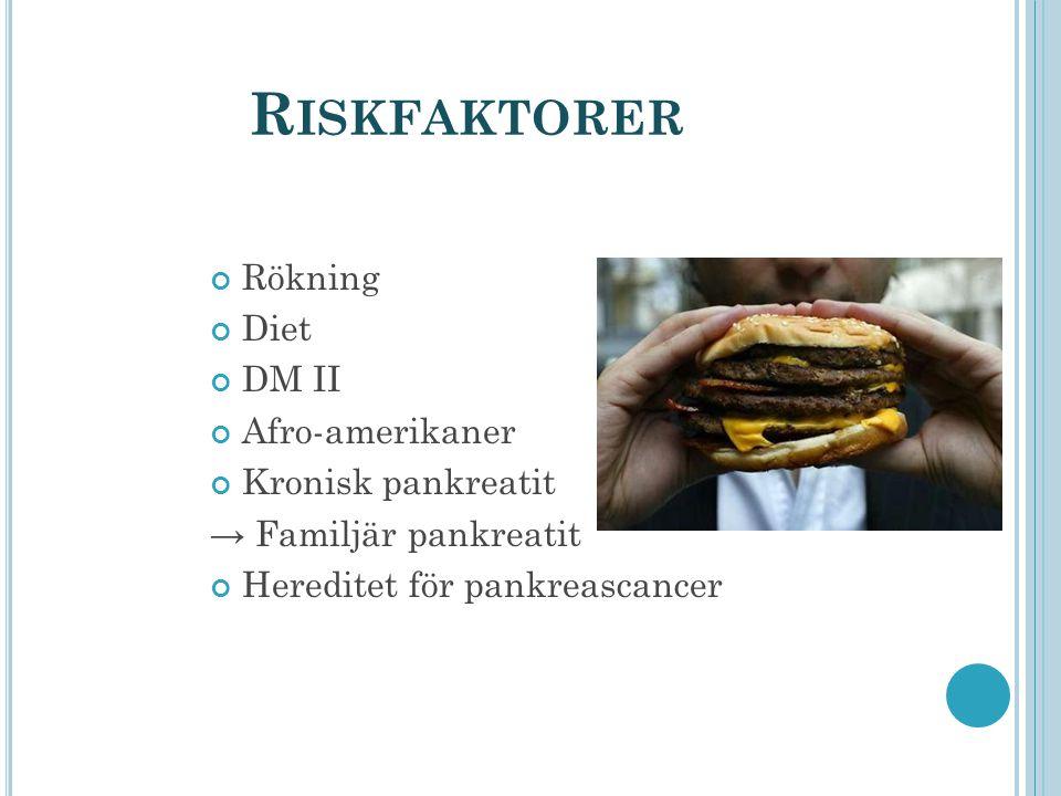 R ISKFAKTORER Rökning Diet DM II Afro-amerikaner Kronisk pankreatit → Familjär pankreatit Hereditet för pankreascancer