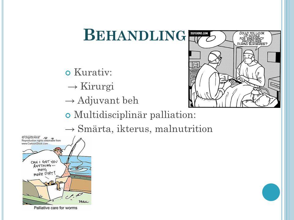 B EHANDLING Kurativ: → Kirurgi → Adjuvant beh Multidisciplinär palliation: → Smärta, ikterus, malnutrition