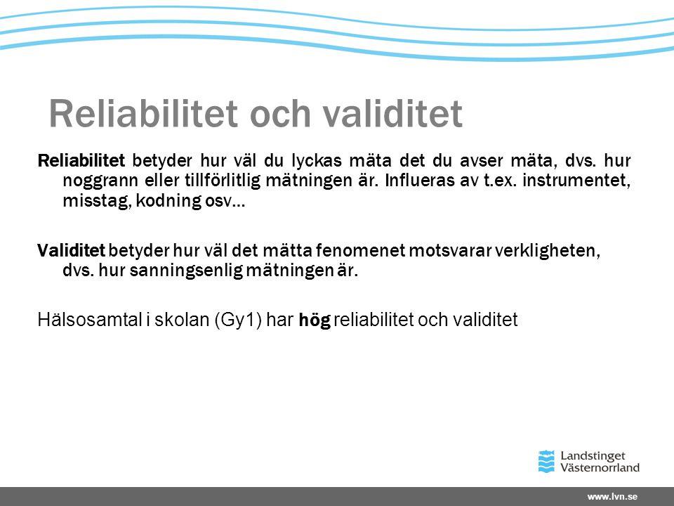 Reliabilitet och validitet Reliabilitet betyder hur väl du lyckas mäta det du avser mäta, dvs. hur noggrann eller tillförlitlig mätningen är. Influera