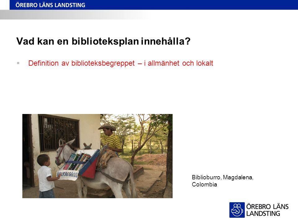 Vad kan en biblioteksplan innehålla?  Definition av biblioteksbegreppet – i allmänhet och lokalt Biblioburro, Magdalena, Colombia