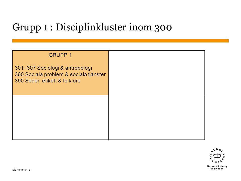 Sidnummer 13 Grupp 1 : Disciplinkluster inom 300 GRUPP 1 301–307 Sociologi & antropologi 360 Sociala problem & sociala tjänster 390 Seder, etikett & folklore