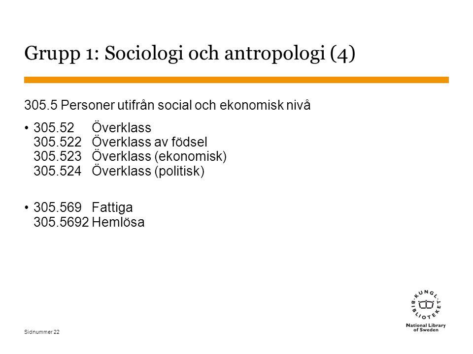 Sidnummer 22 Grupp 1: Sociologi och antropologi (4) 305.5 Personer utifrån social och ekonomisk nivå 305.52 Överklass 305.522 Överklass av födsel 305.523 Överklass (ekonomisk) 305.524 Överklass (politisk) 305.569 Fattiga 305.5692 Hemlösa