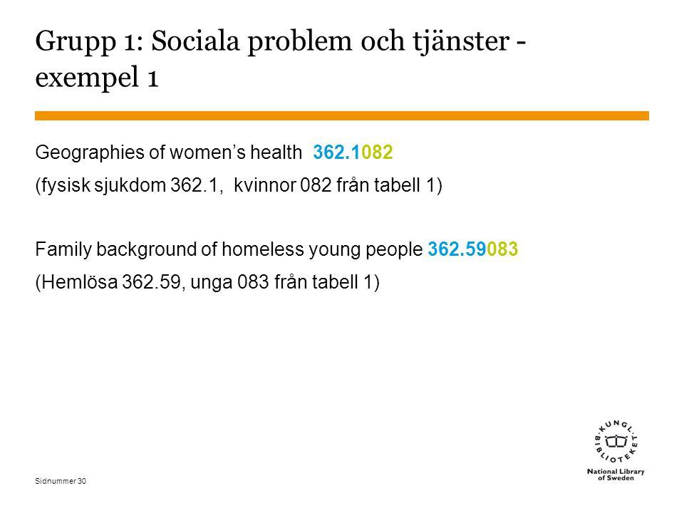 Sidnummer 30 Grupp 1: Sociala problem och tjänster - exempel 1 Geographies of women's health 362.1082 (fysisk sjukdom 362.1, kvinnor 082 från tabell 1) Family background of homeless young people 362.59083 (Hemlösa 362.59, unga 083 från tabell 1)