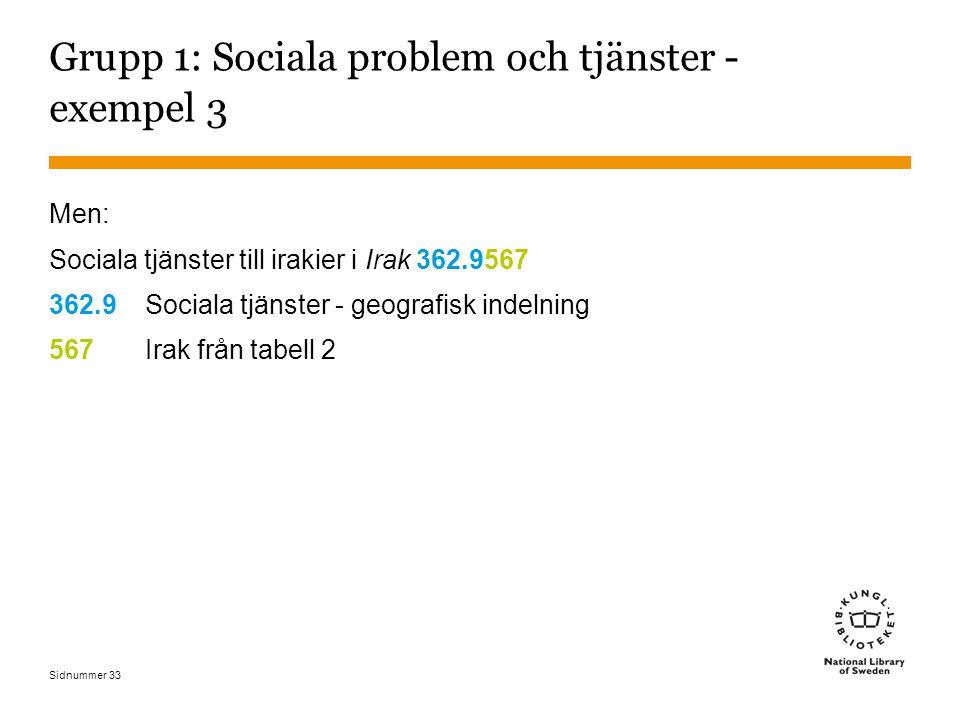 Sidnummer 33 Grupp 1: Sociala problem och tjänster - exempel 3 Men: Sociala tjänster till irakier i Irak 362.9567 362.9Sociala tjänster - geografisk indelning 567Irak från tabell 2