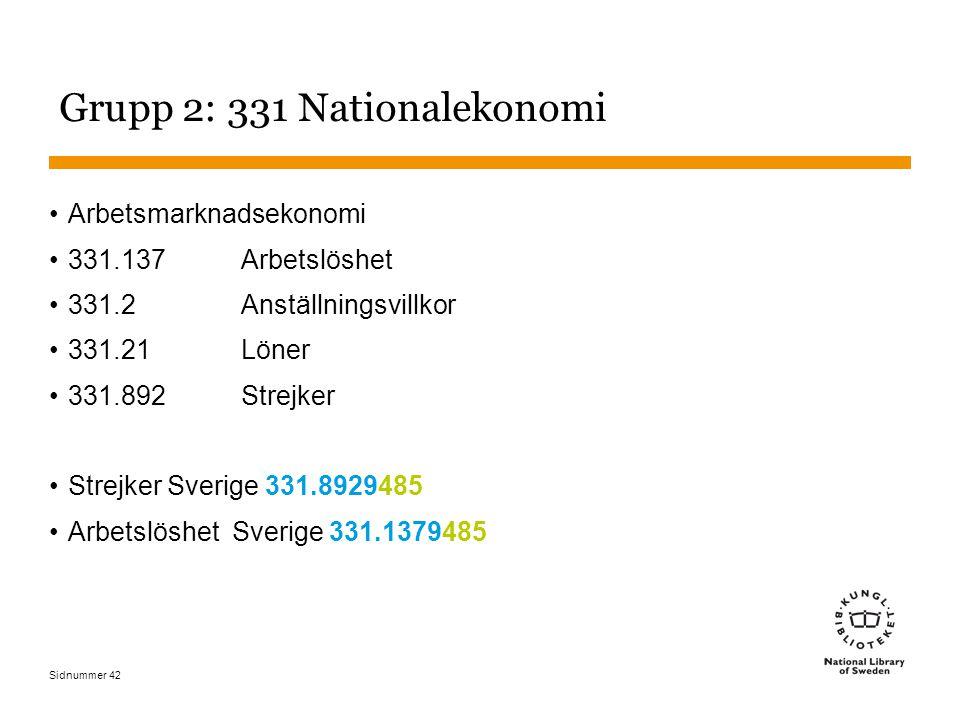 Sidnummer 42 Grupp 2: 331 Nationalekonomi Arbetsmarknadsekonomi 331.137Arbetslöshet 331.2 Anställningsvillkor 331.21 Löner 331.892 Strejker Strejker Sverige 331.8929485 Arbetslöshet Sverige 331.1379485