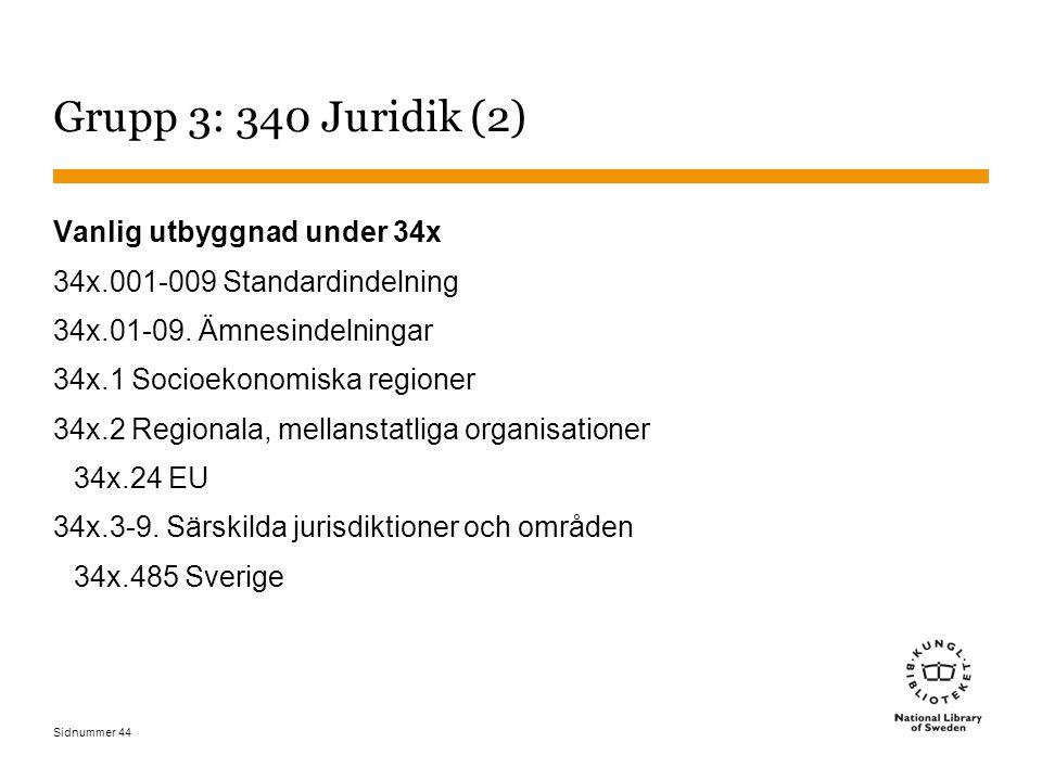 Sidnummer 44 Grupp 3: 340 Juridik (2) Vanlig utbyggnad under 34x 34x.001-009 Standardindelning 34x.01-09.