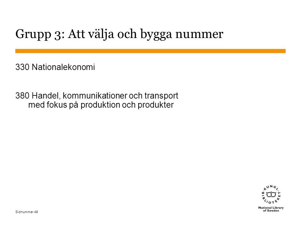 Sidnummer 48 Grupp 3: Att välja och bygga nummer 330 Nationalekonomi 380 Handel, kommunikationer och transport med fokus på produktion och produkter