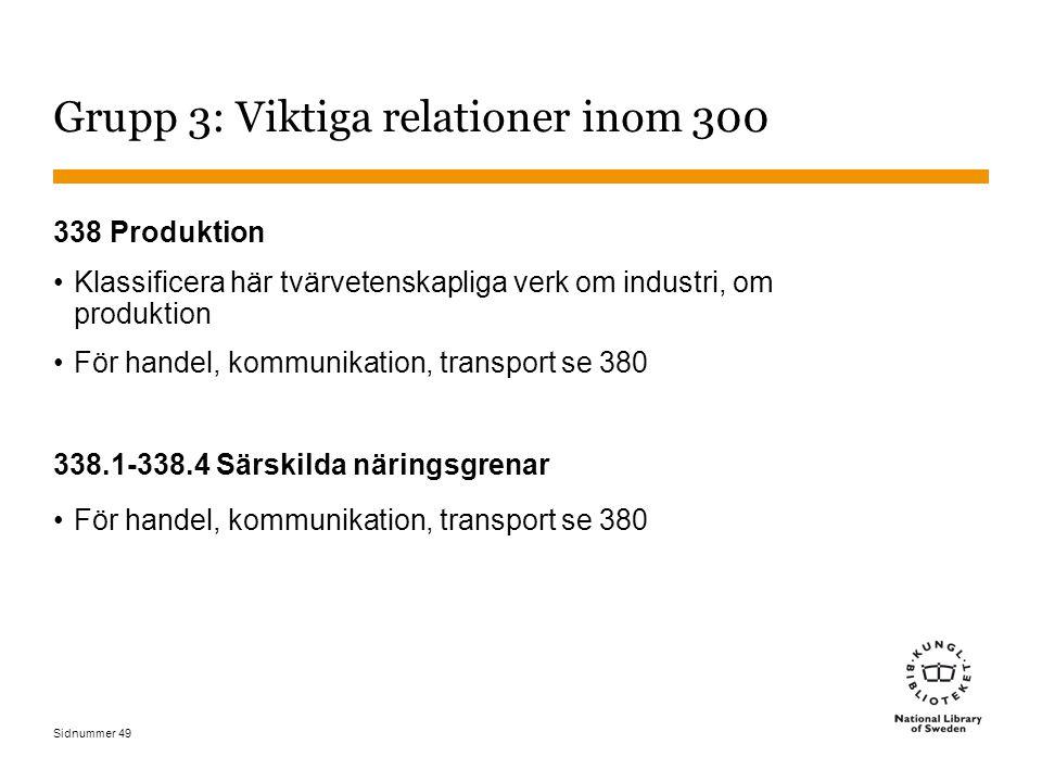 Sidnummer 49 Grupp 3: Viktiga relationer inom 300 338 Produktion Klassificera här tvärvetenskapliga verk om industri, om produktion För handel, kommunikation, transport se 380 338.1-338.4 Särskilda näringsgrenar För handel, kommunikation, transport se 380