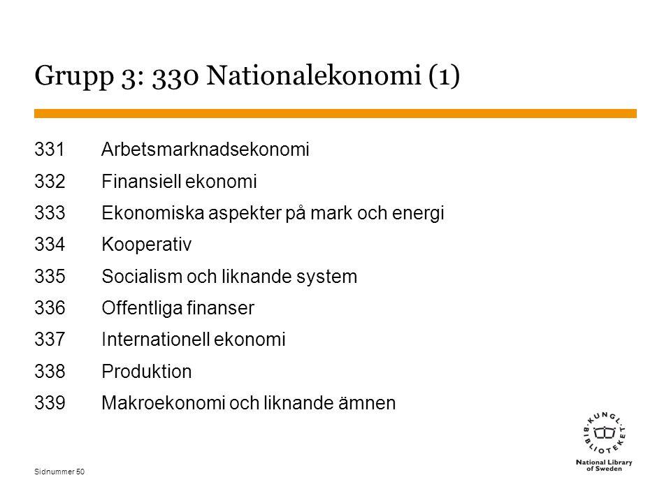 Sidnummer 50 Grupp 3: 330 Nationalekonomi (1) 331Arbetsmarknadsekonomi 332Finansiell ekonomi 333Ekonomiska aspekter på mark och energi 334Kooperativ 335Socialism och liknande system 336Offentliga finanser 337Internationell ekonomi 338Produktion 339Makroekonomi och liknande ämnen