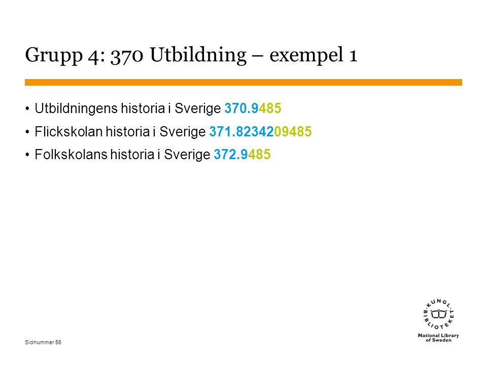 Sidnummer 56 Grupp 4: 370 Utbildning – exempel 1 Utbildningens historia i Sverige 370.9485 Flickskolan historia i Sverige 371.8234209485 Folkskolans historia i Sverige 372.9485