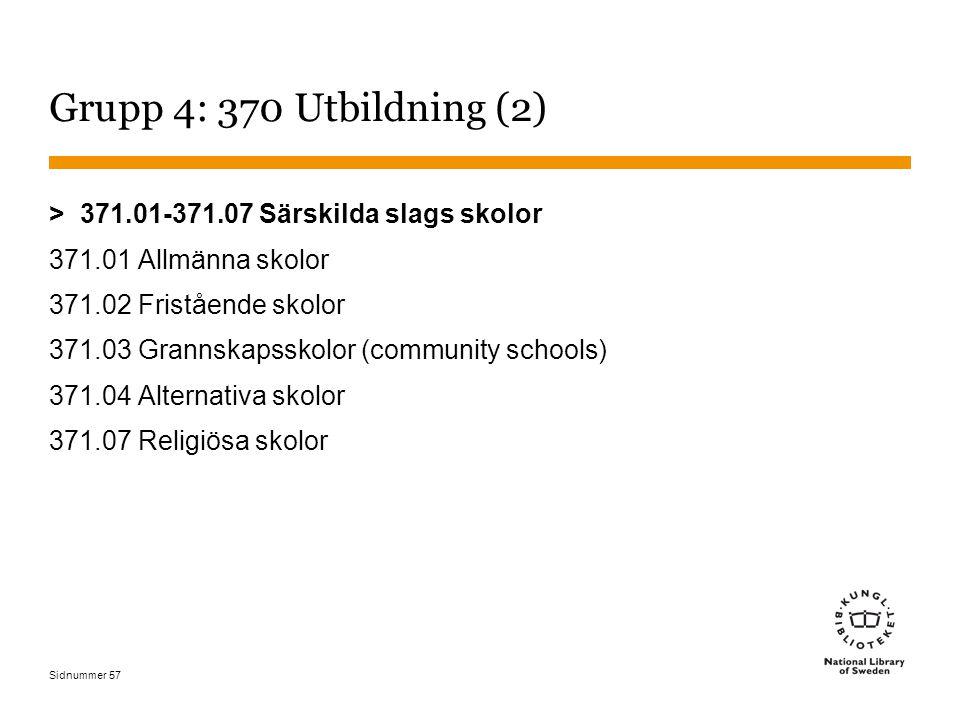Sidnummer 57 Grupp 4: 370 Utbildning (2) > 371.01-371.07 Särskilda slags skolor 371.01 Allmänna skolor 371.02 Fristående skolor 371.03 Grannskapsskolor (community schools) 371.04 Alternativa skolor 371.07 Religiösa skolor