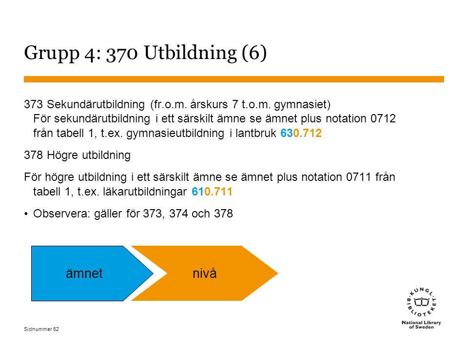 Sidnummer 62 Grupp 4: 370 Utbildning (6) 373 Sekundärutbildning (fr.o.m.