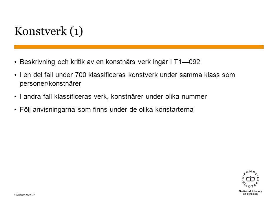 Sidnummer 22 Konstverk (1) Beskrivning och kritik av en konstnärs verk ingår i T1—092 I en del fall under 700 klassificeras konstverk under samma klas