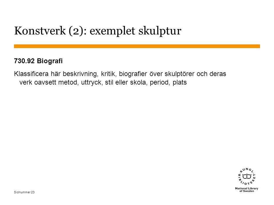 Sidnummer 23 Konstverk (2): exemplet skulptur 730.92 Biografi Klassificera här beskrivning, kritik, biografier över skulptörer och deras verk oavsett