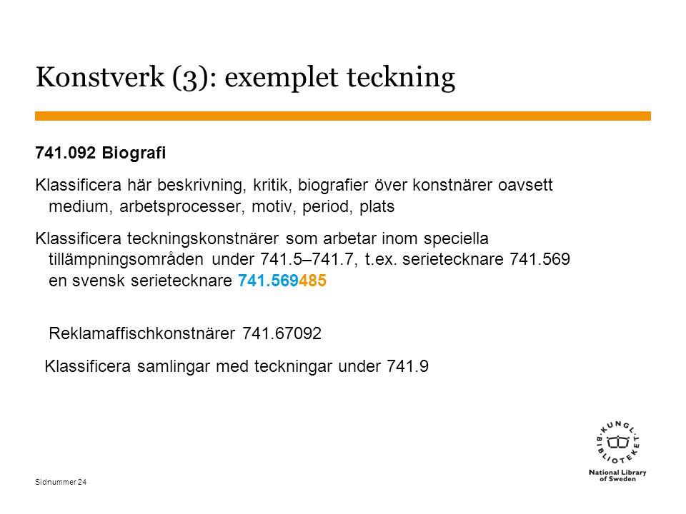 Sidnummer 24 Konstverk (3): exemplet teckning 741.092 Biografi Klassificera här beskrivning, kritik, biografier över konstnärer oavsett medium, arbets