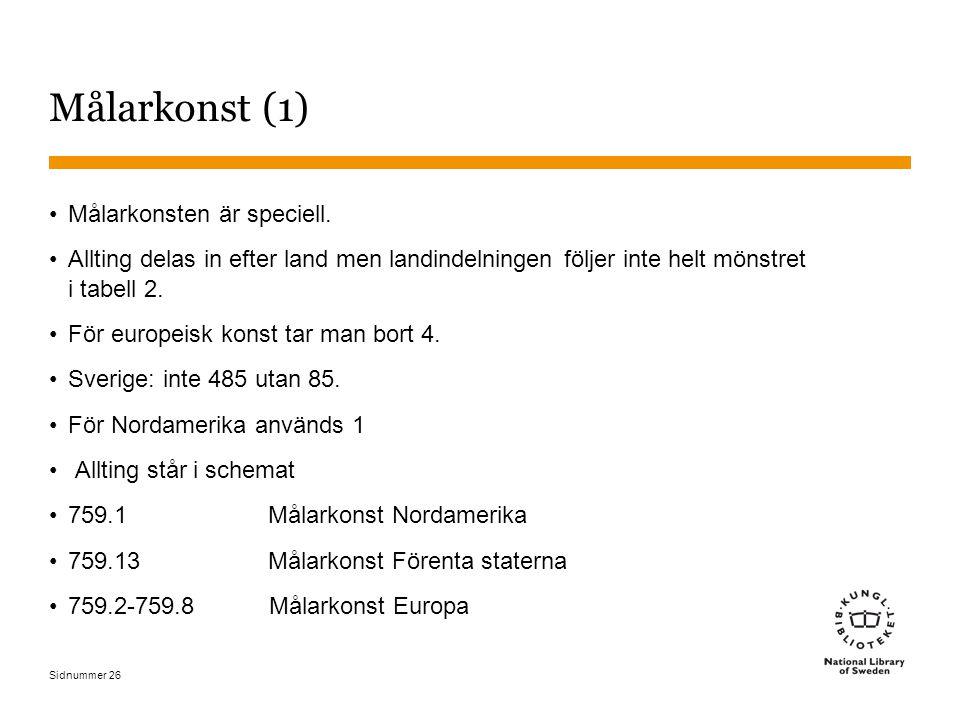 Sidnummer 26 Målarkonst (1) Målarkonsten är speciell. Allting delas in efter land men landindelningen följer inte helt mönstret i tabell 2. För europe