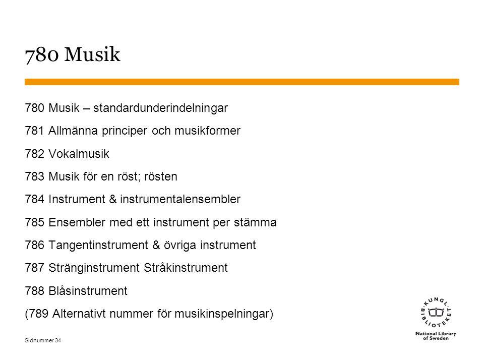 Sidnummer 34 780 Musik 780 Musik – standardunderindelningar 781 Allmänna principer och musikformer 782 Vokalmusik 783 Musik för en röst; rösten 784 In