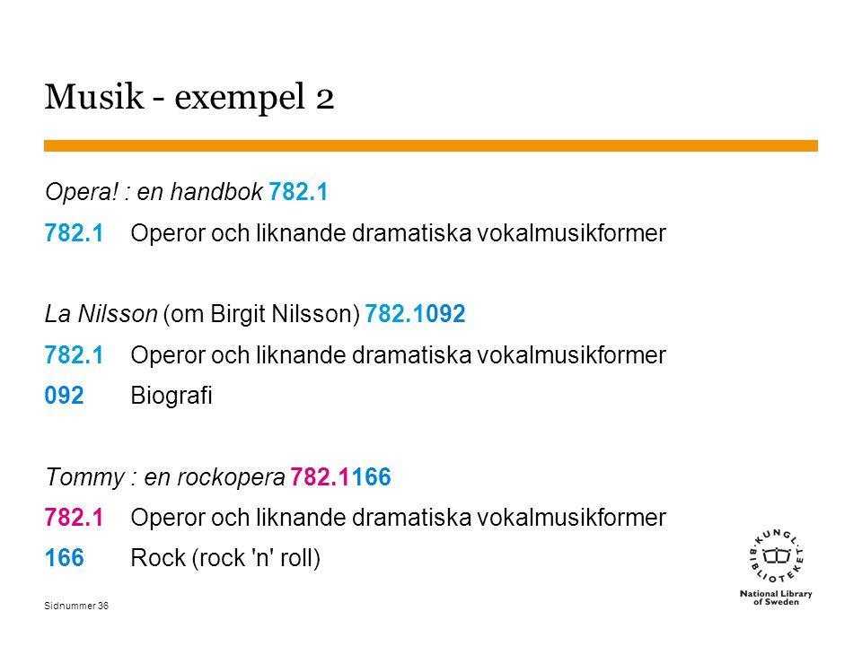Sidnummer 36 Musik - exempel 2 Opera! : en handbok 782.1 782.1 Operor och liknande dramatiska vokalmusikformer La Nilsson (om Birgit Nilsson) 782.1092