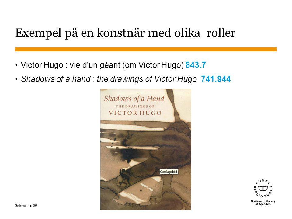 Sidnummer 38 Exempel på en konstnär med olika roller Victor Hugo : vie d'un géant (om Victor Hugo) 843.7 Shadows of a hand : the drawings of Victor Hu