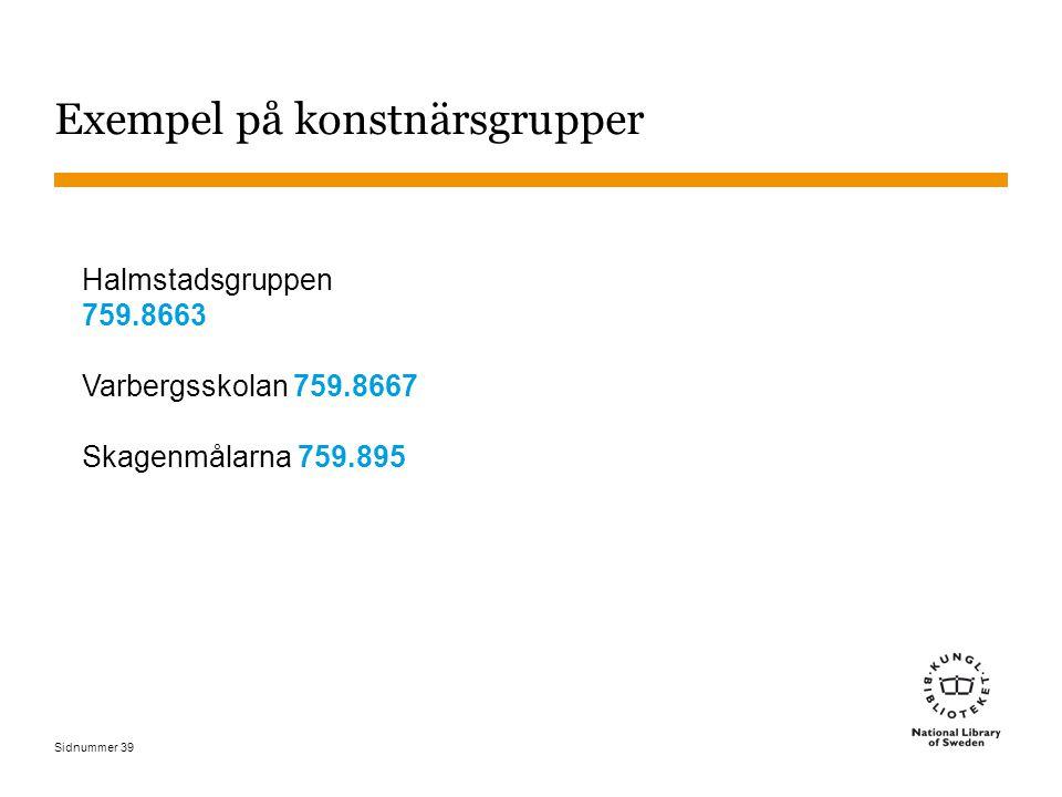 Sidnummer 39 Exempel på konstnärsgrupper Halmstadsgruppen 759.8663 Varbergsskolan 759.8667 Skagenmålarna 759.895