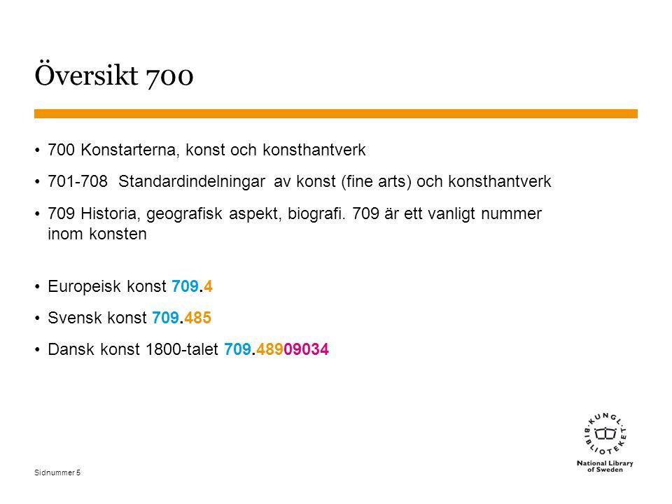 Sidnummer 5 Översikt 700 700 Konstarterna, konst och konsthantverk 701-708 Standardindelningar av konst (fine arts) och konsthantverk 709 Historia, ge
