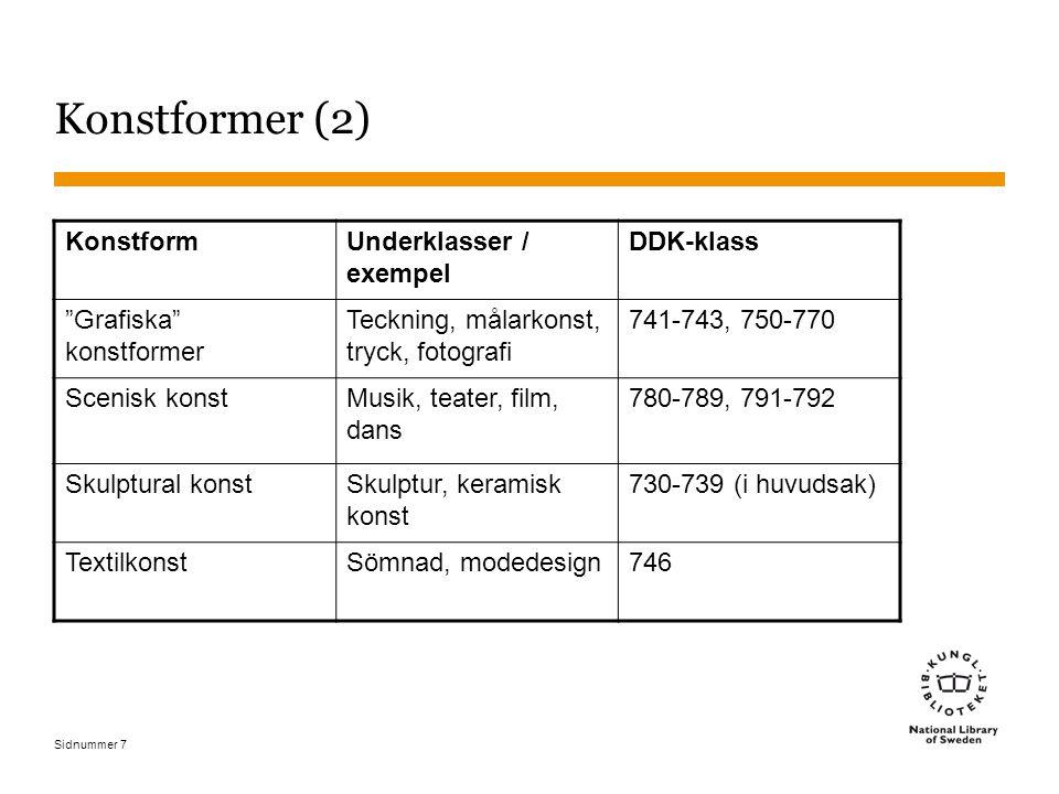 """Sidnummer 7 Konstformer (2) Konstform Underklasser / exempel DDK-klass """"Grafiska"""" konstformer Teckning, målarkonst, tryck, fotografi 741-743, 750-770"""