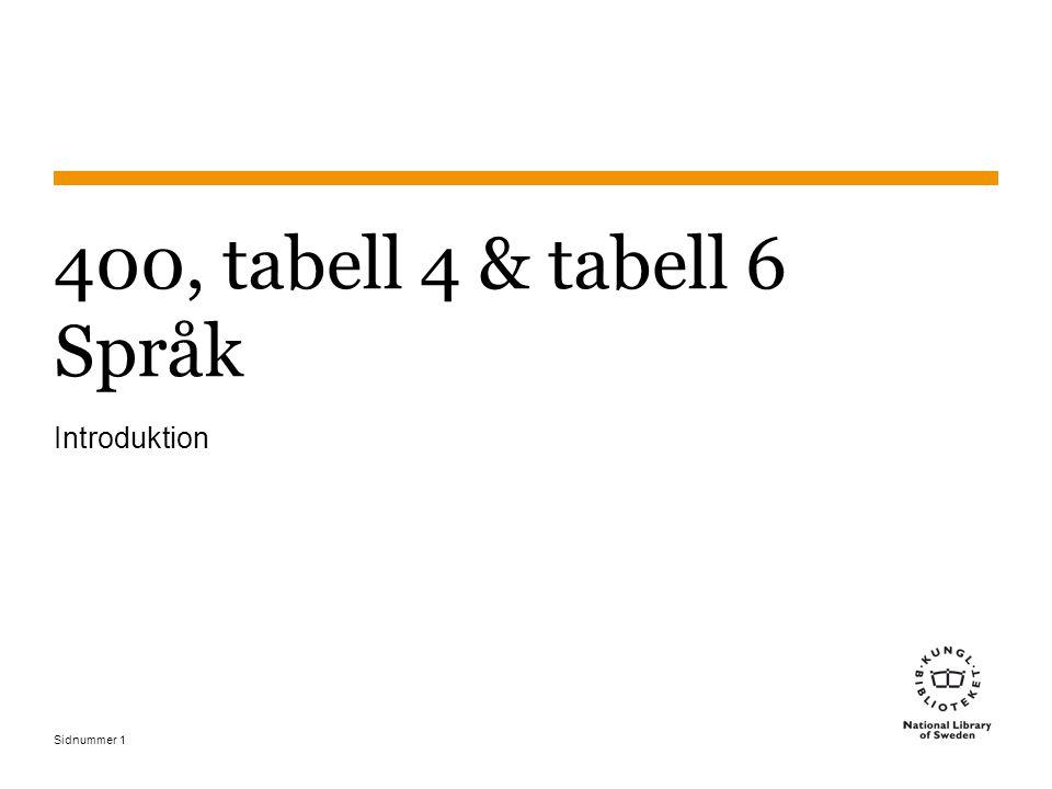 Sidnummer1 400, tabell 4 & tabell 6 Språk Introduktion