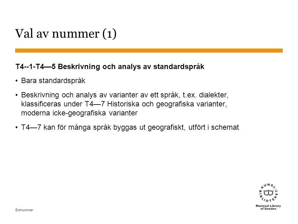 Sidnummer Val av nummer (1) T4--1-T4—5 Beskrivning och analys av standardspråk Bara standardspråk Beskrivning och analys av varianter av ett språk, t.