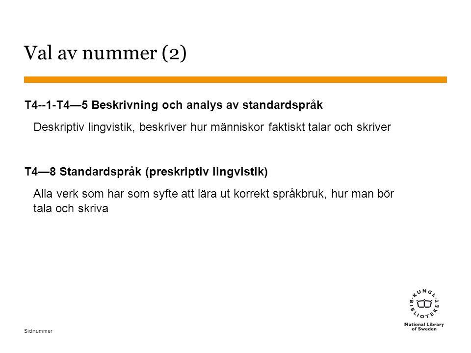 Sidnummer Val av nummer (2) T4--1-T4—5 Beskrivning och analys av standardspråk Deskriptiv lingvistik, beskriver hur människor faktiskt talar och skriver T4—8 Standardspråk (preskriptiv lingvistik) Alla verk som har som syfte att lära ut korrekt språkbruk, hur man bör tala och skriva