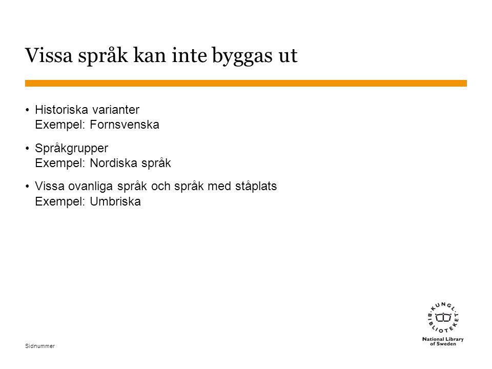Sidnummer Vissa språk kan inte byggas ut Historiska varianter Exempel: Fornsvenska Språkgrupper Exempel: Nordiska språk Vissa ovanliga språk och språk