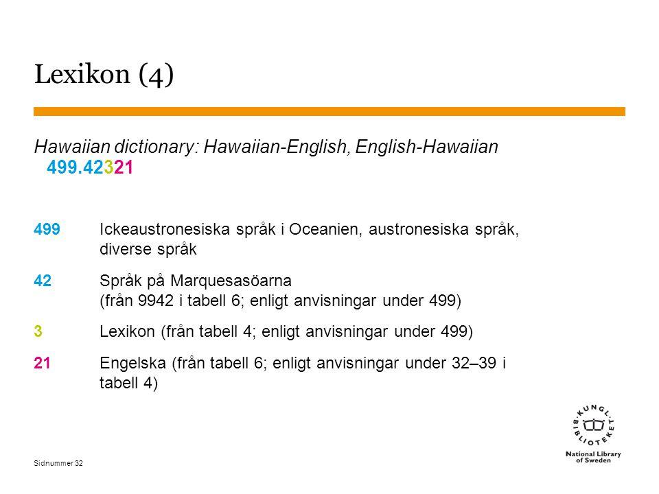 Sidnummer 32 Lexikon (4) Hawaiian dictionary: Hawaiian-English, English-Hawaiian 499.42321 499Ickeaustronesiska språk i Oceanien, austronesiska språk, diverse språk 42Språk på Marquesasöarna (från 9942 i tabell 6; enligt anvisningar under 499) 3Lexikon (från tabell 4; enligt anvisningar under 499) 21Engelska (från tabell 6; enligt anvisningar under 32–39 i tabell 4)