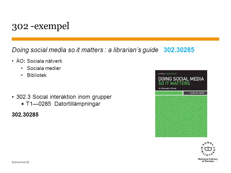 Sidnummer 302 -exempel Doing social media so it matters : a librarian's guide 302.30285 ÄO: Sociala nätverk Sociala medier Bibliotek 302.3 Social interaktion inom grupper + T1—0285 Datortillämpningar 302.30285 20