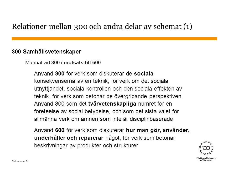Sidnummer 6 Relationer mellan 300 och andra delar av schemat (2) 300 Samhällsvetenskaper Klassificera här beteendevetenskaper, samhällsorienterande ämnen Klassificera en särskild beteendevetenskap med den vetenskapen, t.