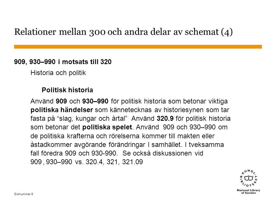 Sidnummer 59 Grupp 4: 370 Utbildning – exempel 1 Utbildningens historia i Sverige 370.9485 Flickskolan historia i Sverige 371.82209485 Folkskolans historia i Sverige 372.9485