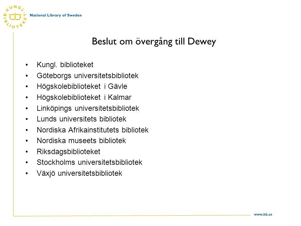 www.kb.se Beslut om övergång till Dewey Kungl.