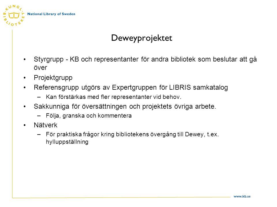 www.kb.se Deweyprojektet Styrgrupp - KB och representanter för andra bibliotek som beslutar att gå över Projektgrupp Referensgrupp utgörs av Expertgruppen för LIBRIS samkatalog –Kan förstärkas med fler representanter vid behov.