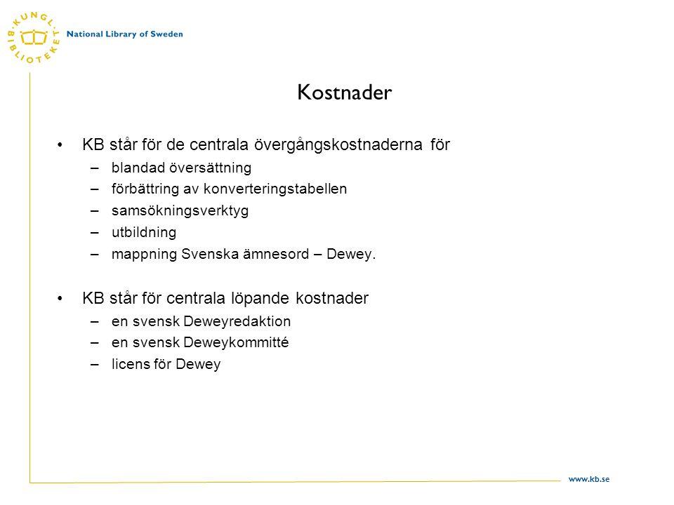 www.kb.se Kostnader KB står för de centrala övergångskostnaderna för –blandad översättning –förbättring av konverteringstabellen –samsökningsverktyg –utbildning –mappning Svenska ämnesord – Dewey.