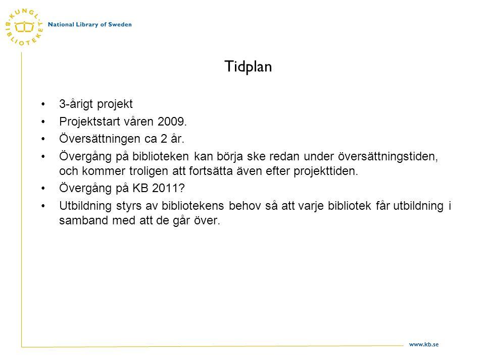 www.kb.se Tidplan 3-årigt projekt Projektstart våren 2009.