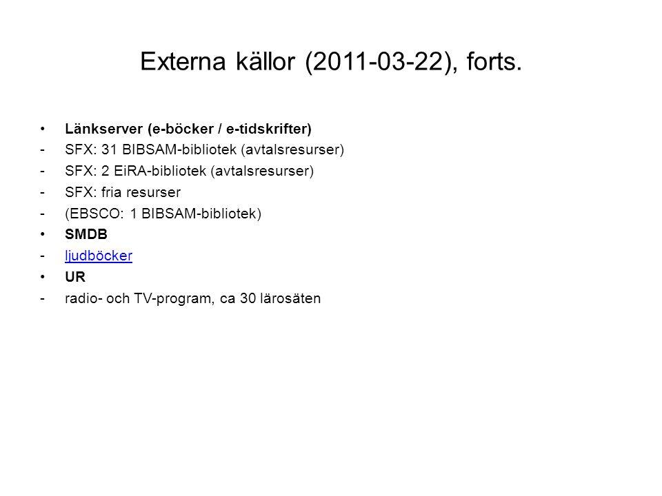 Externa källor (2011-03-22), forts.