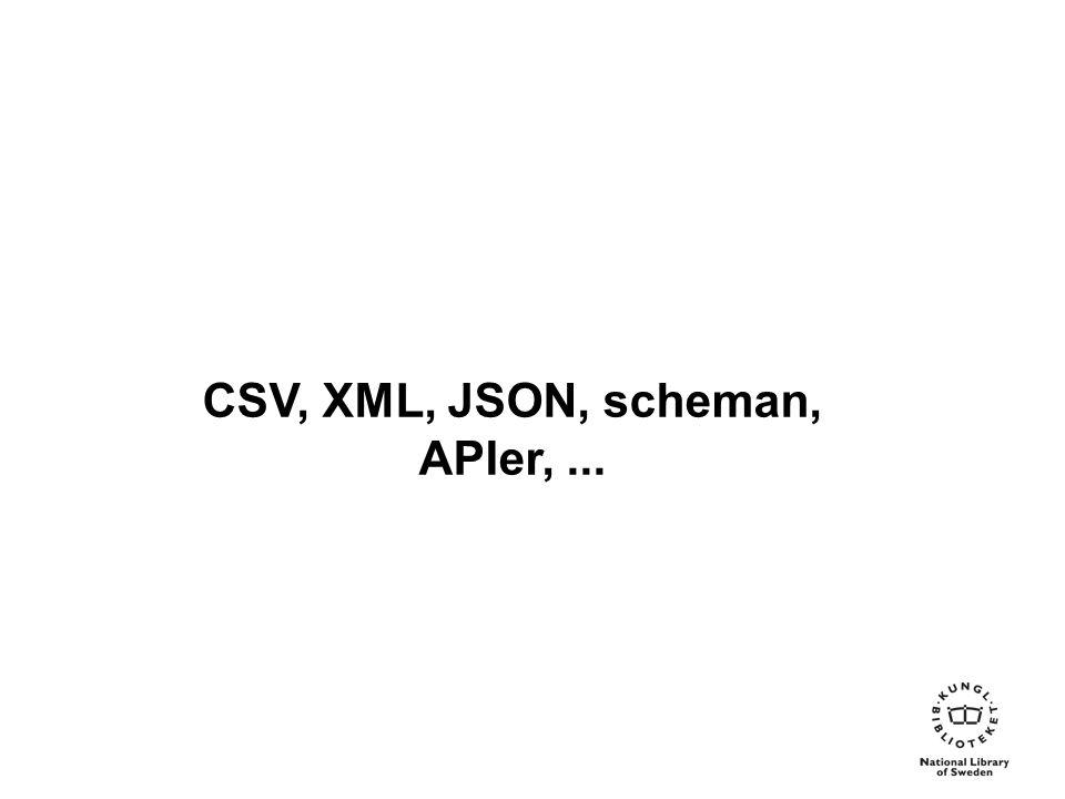 CSV, XML, JSON, scheman, APIer,...