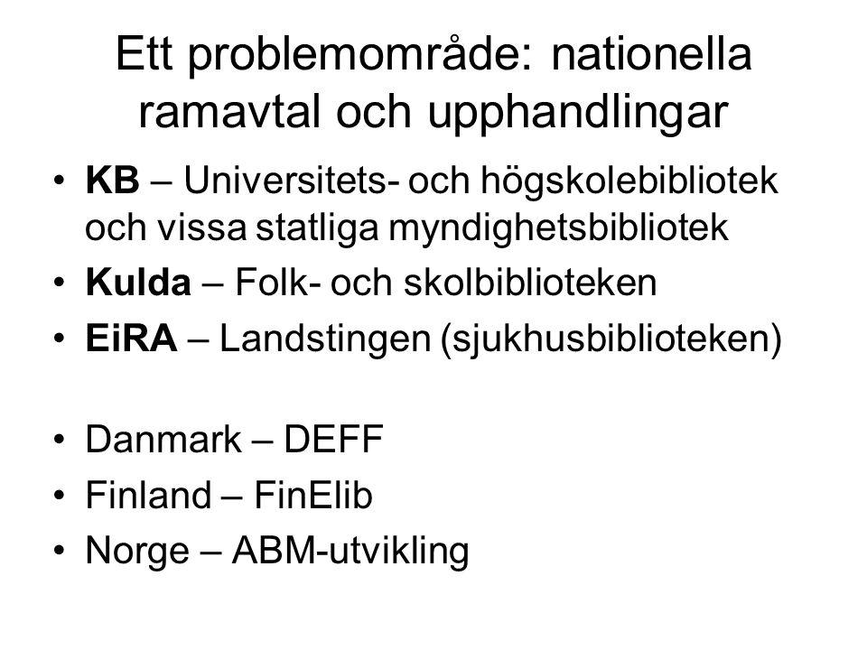 Ett problemområde: nationella ramavtal och upphandlingar KB – Universitets- och högskolebibliotek och vissa statliga myndighetsbibliotek Kulda – Folk- och skolbiblioteken EiRA – Landstingen (sjukhusbiblioteken) Danmark – DEFF Finland – FinElib Norge – ABM-utvikling