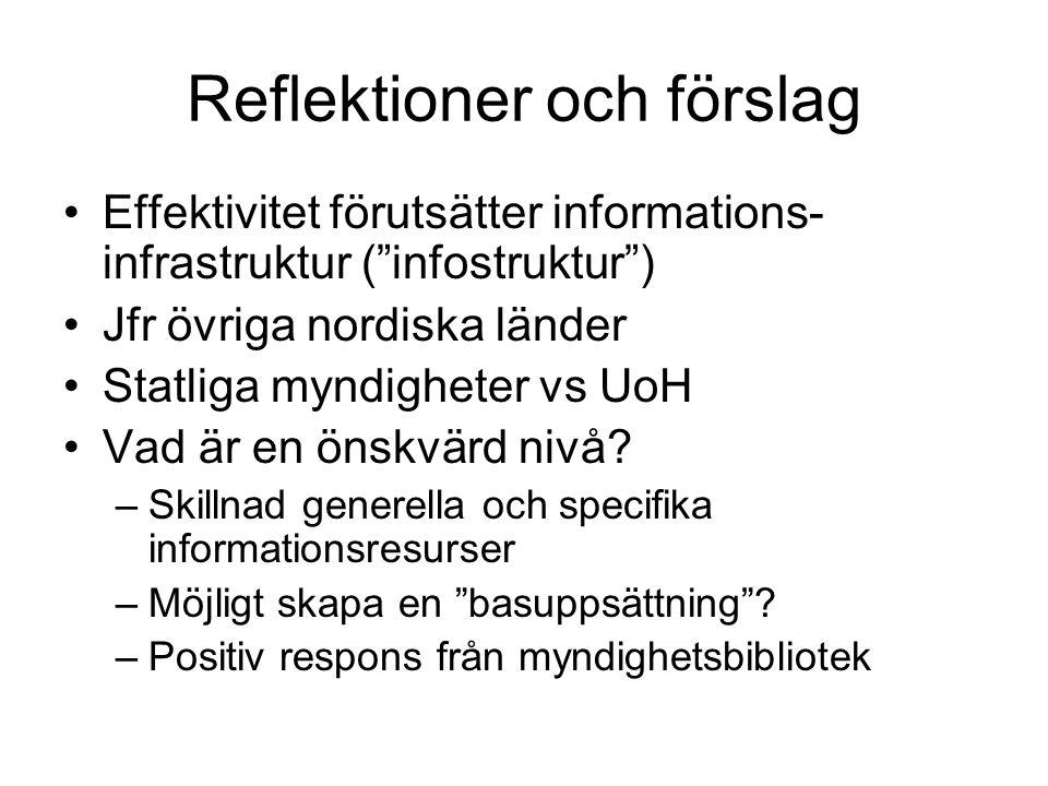 Reflektioner och förslag Effektivitet förutsätter informations- infrastruktur ( infostruktur ) Jfr övriga nordiska länder Statliga myndigheter vs UoH Vad är en önskvärd nivå.
