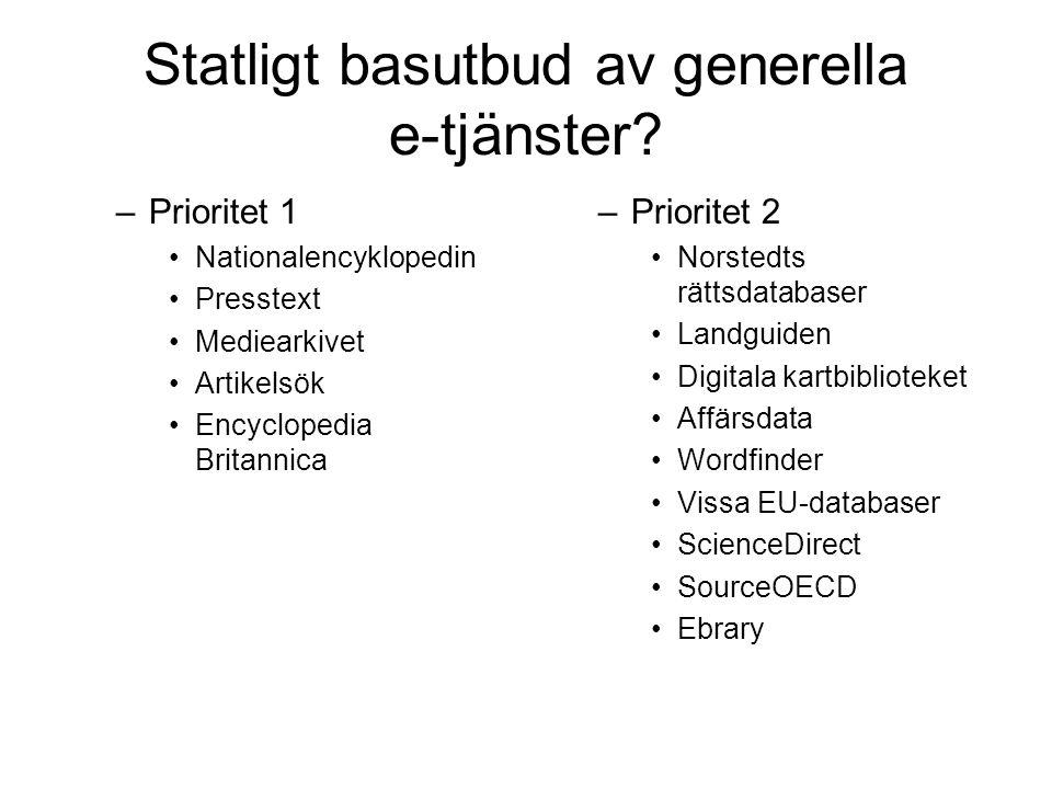 Statligt basutbud av generella e-tjänster.