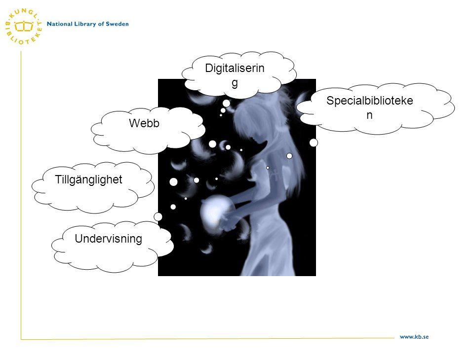 www.kb.se Digitaliserin g Webb Tillgänglighet Undervisning Specialbiblioteke n