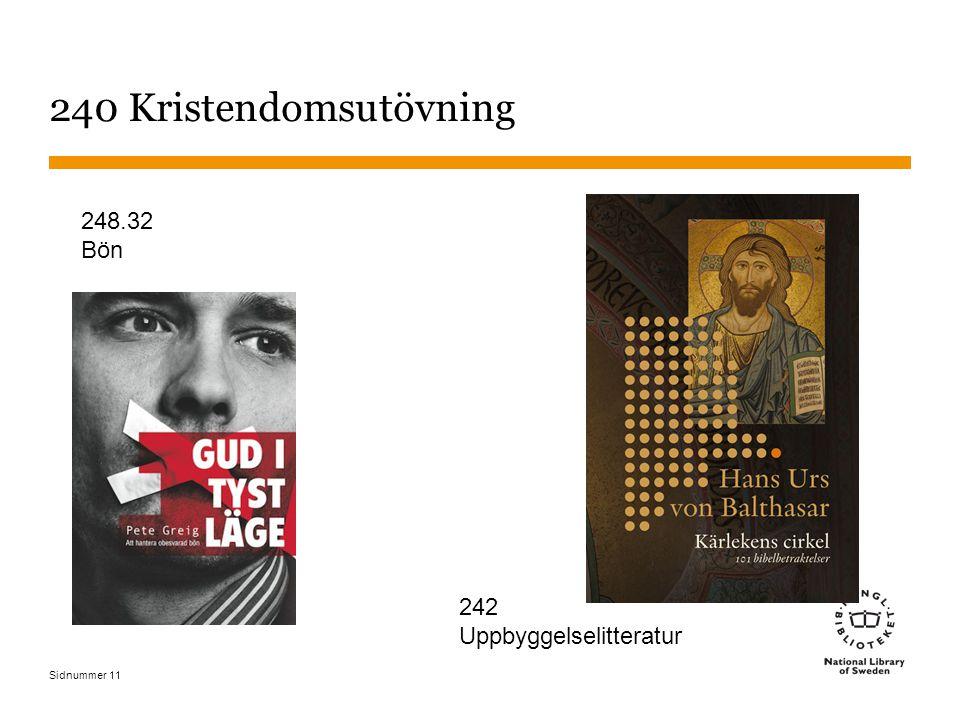 Sidnummer 240 Kristendomsutövning 11 242 Uppbyggelselitteratur 248.32 Bön